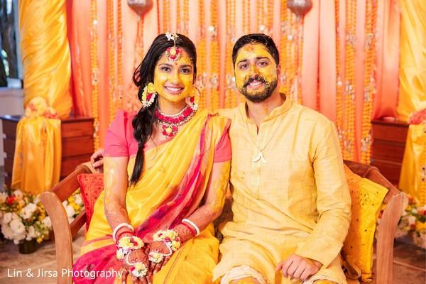 Maharani and groom smiling after the Gaye Halud