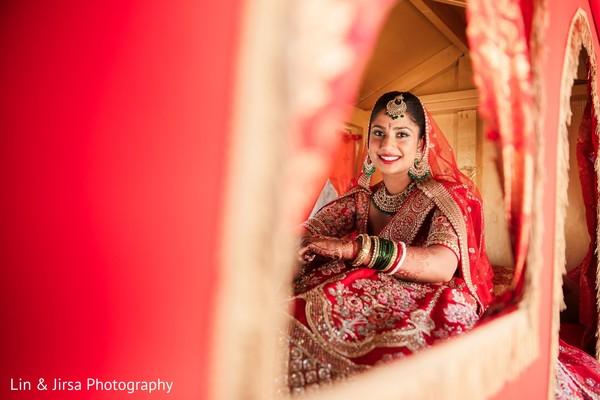 Maharani smiling inside her Indian Doli.