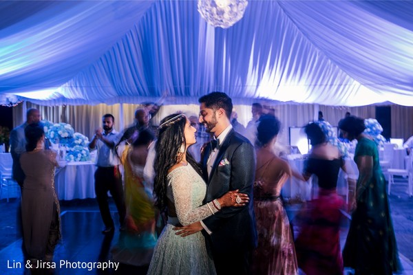Indian couple on their first dance in the reception.