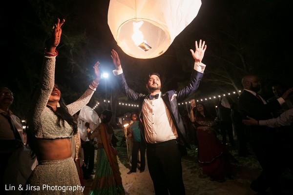 Maharani and Raja sending a sky lantern to fly.