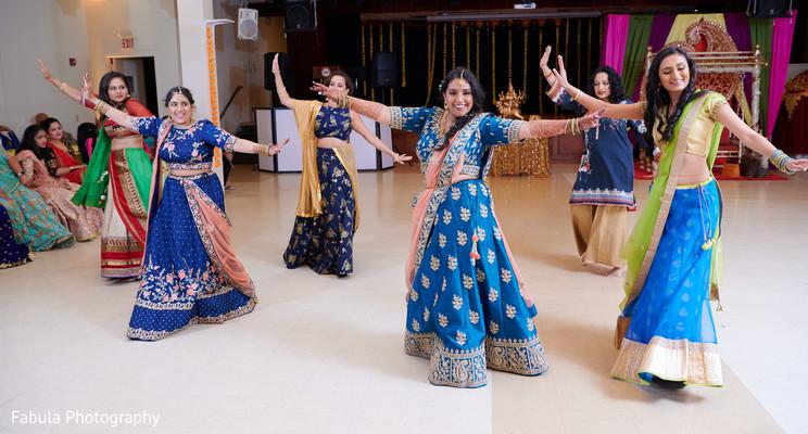 Bridesmaids dancing in Sangeet ceremony.