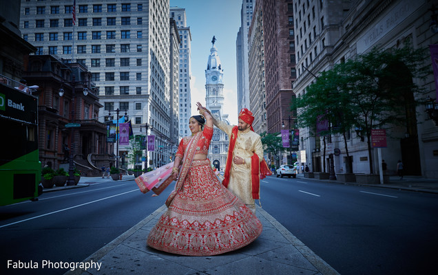 Indian bride and her Indian groom on the streets.