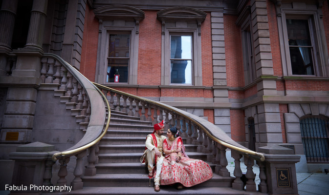 Indian couple photo shoot on the stairs.