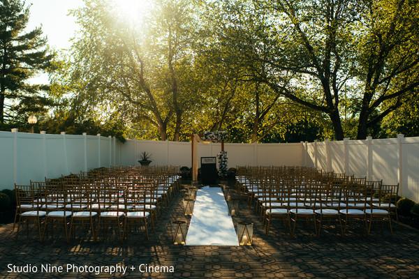 Indian Christian wedding ceremony outdoors setup.