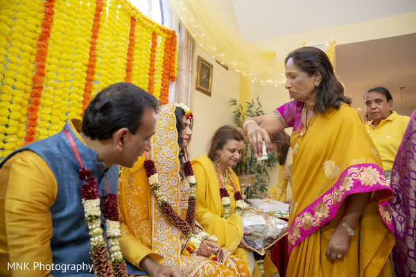 Indian relatives during the manjha rituals.