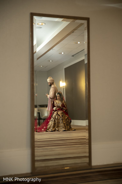 Indian bride and groom's capture on a mirror reflex.