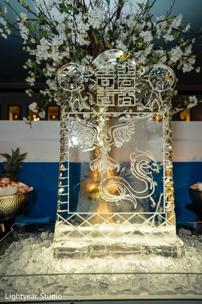 Indian Chinese wedding ice sculpture decoration.