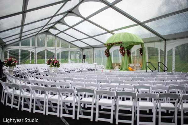 Indian Chinese wedding ceremony setup.