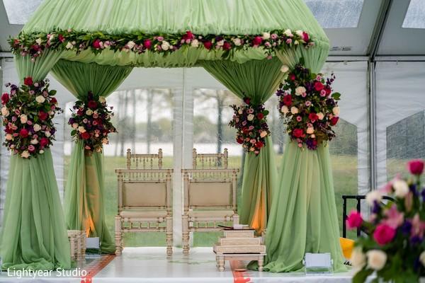 Indian Chinese wedding ceremony mandap decorations.