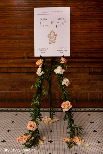 White and golden Indian wedding welcome sign.