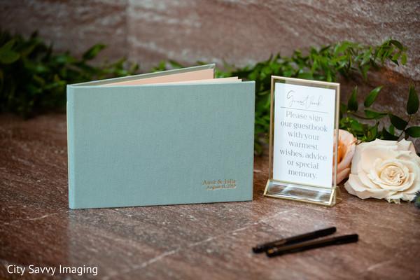 Indian wedding light blue guest book