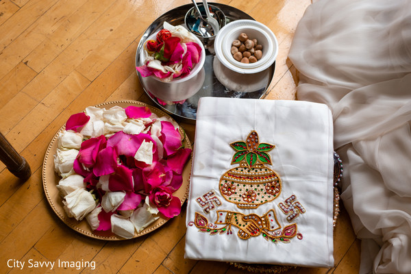 Indian wedding ritual items on the sacred thali.
