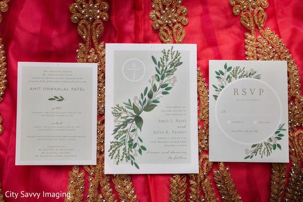 Light green Indian wedding invitations.