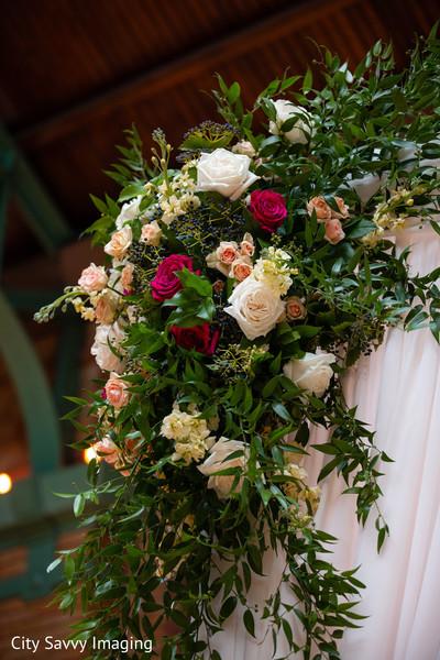 Indian wedding mandap corner flowers decoration.