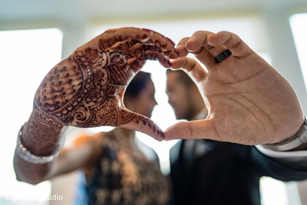 Closeup capture of Indian bride and chinese groom's hand.