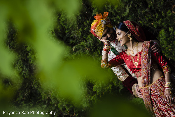 Indian groom and his Maharani showing affection