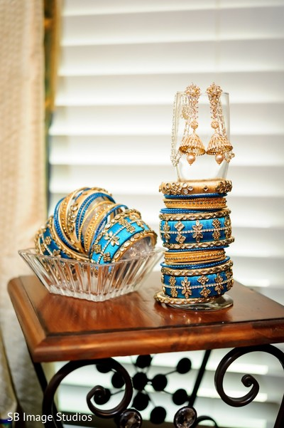 Indian bridal golden and light blue ceremony bangles and kalire.