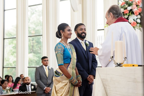 Indian groom and Indian bride during the wedding ceremony