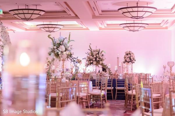 Table arrangement with center decorations.