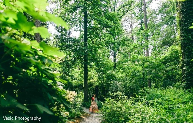 Indian bride surrounded by nature
