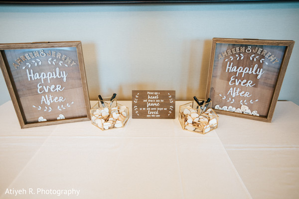 Signs made of wood and glass for the reception.