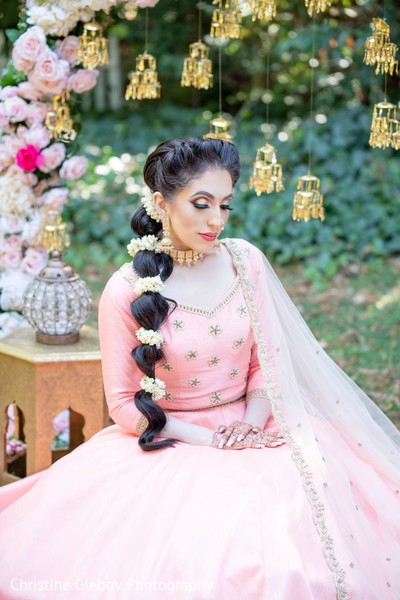 Indian bride's baby pink lengha design for the ceremony ideas.