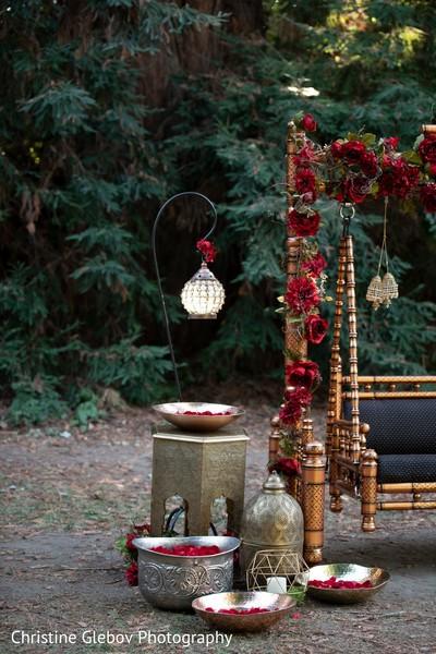 Indian wedding decoration ornaments on display.