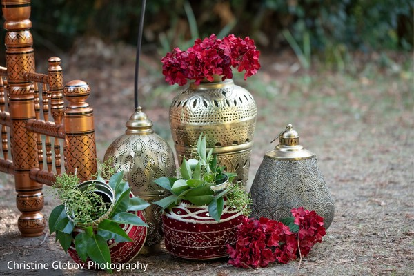 Floral arrangements for Indian wedding celebrations.