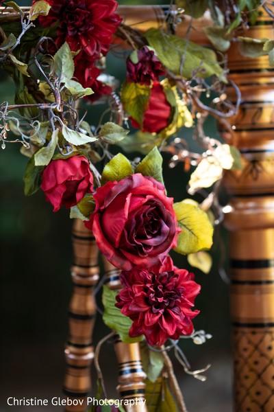 Floral decor details for the Indian wedding celebrations.