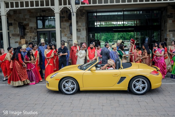 Indian bride and groom leaving ceremony.