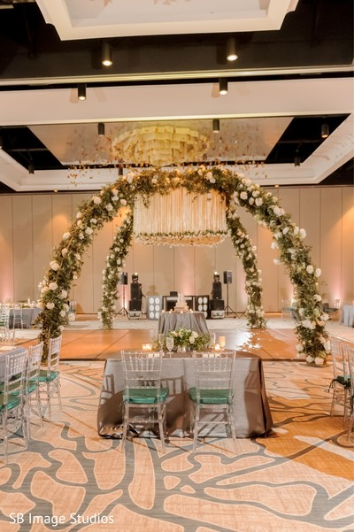 Indian bride and groom's reception table setup.