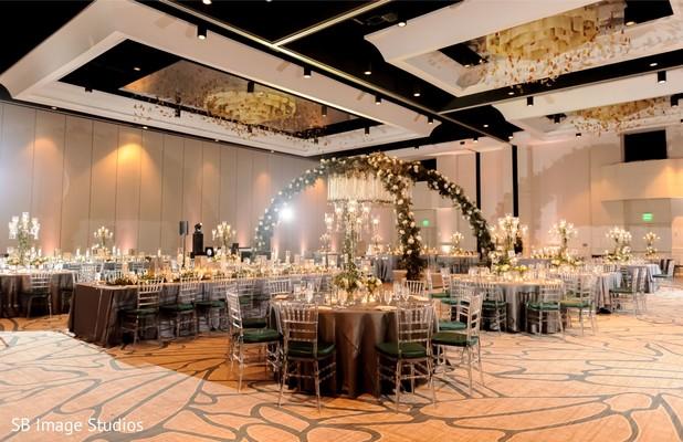 Indian wedding reception table setup.