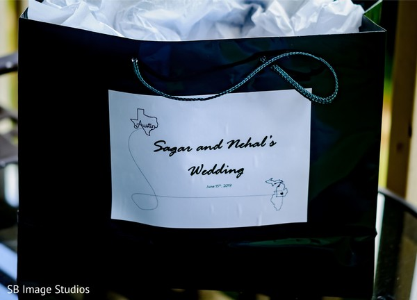 Black and white Indian wedding personalized favor bag.