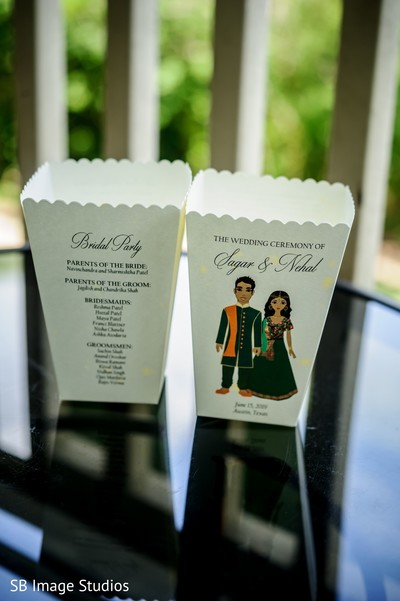 Personalized Indian Sangeet paper bags.