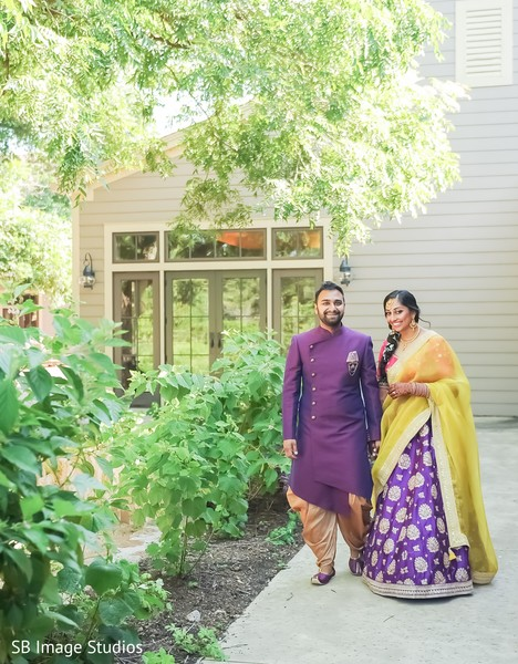 Indian couple smiling photo session.