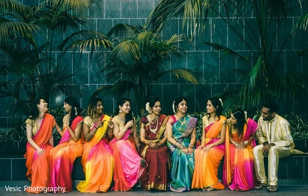 Maharani with her Indian bridesmaids and a male Indian relative