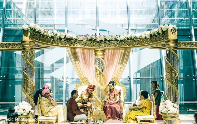Maharani, Indian groom and Indian relatives during the ceremony