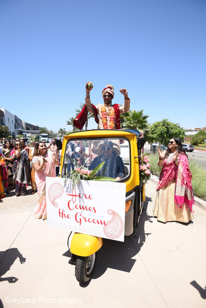 Indian groom during his baraat parade.