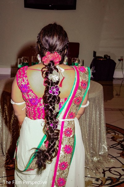 Indian bride's hair design detail for the rituals.