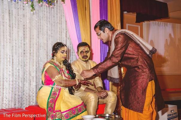 Raja and Maharani during haldi ceremony.