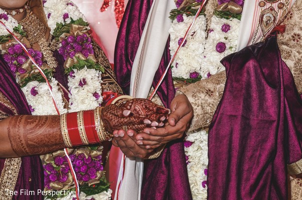 Indian bride and groom during their nuptials.