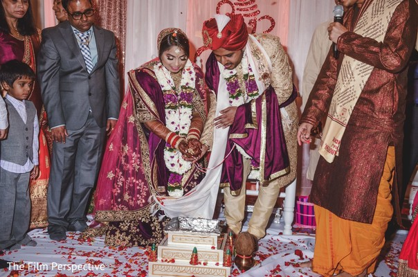 Indian bride and groom during the sacred hindu rituals.
