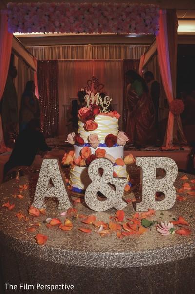 Indian wedding cake design details for the reception.