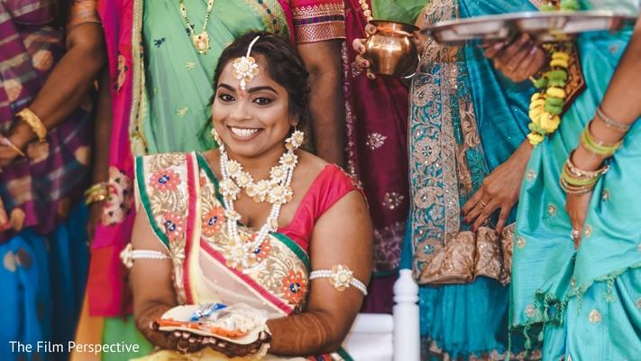 Indian bride's saree design details.