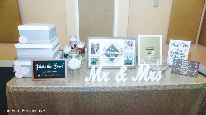 Gift table for the Indian newlyweds.