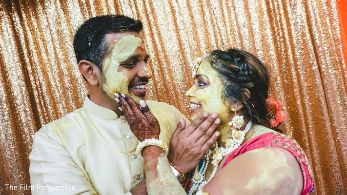 Indian couple during the Haldi ceremony.