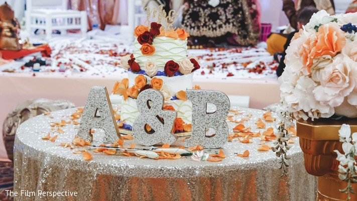 Decor table of the Indian wedding couple.