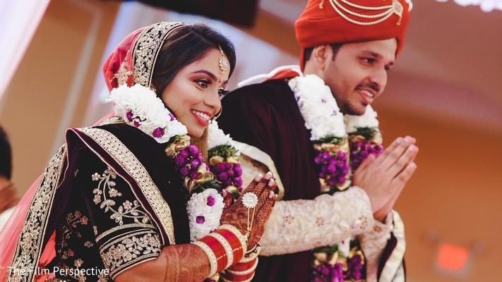 Maharani and Raja wearing traditional wedding attires.
