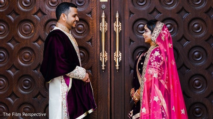 Portrait of the Indian couple during the photoshoot.