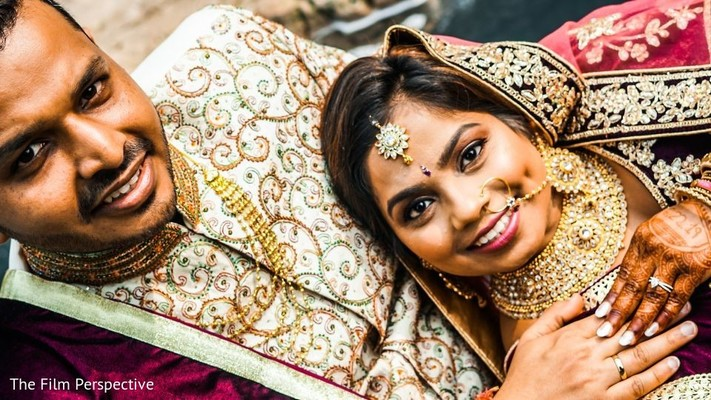 Portrait of the Indian newlyweds after the ceremony.